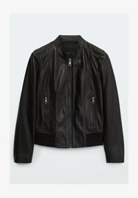 Massimo Dutti - MIT RIPPENMUSTER  - Leather jacket - black - 0