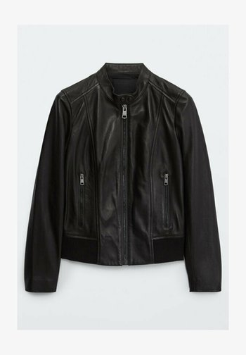 MIT RIPPENMUSTER  - Leather jacket - black