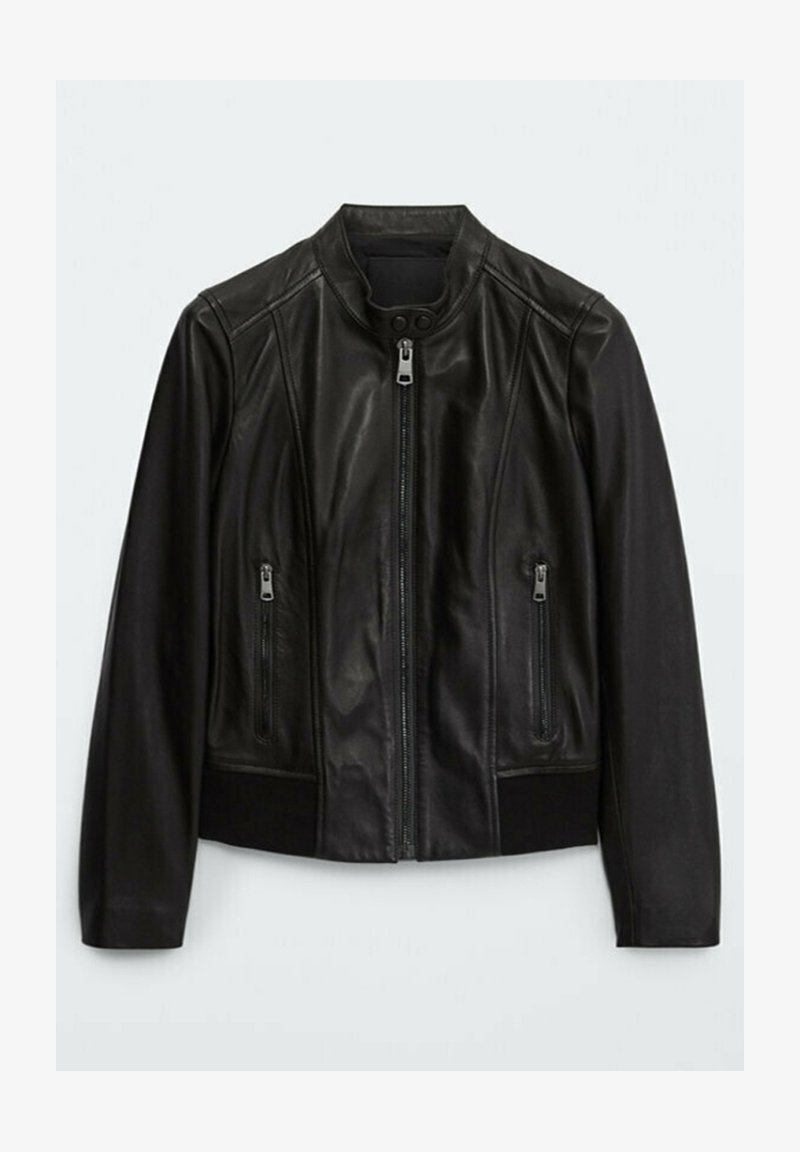 Massimo Dutti - MIT RIPPENMUSTER  - Leather jacket - black