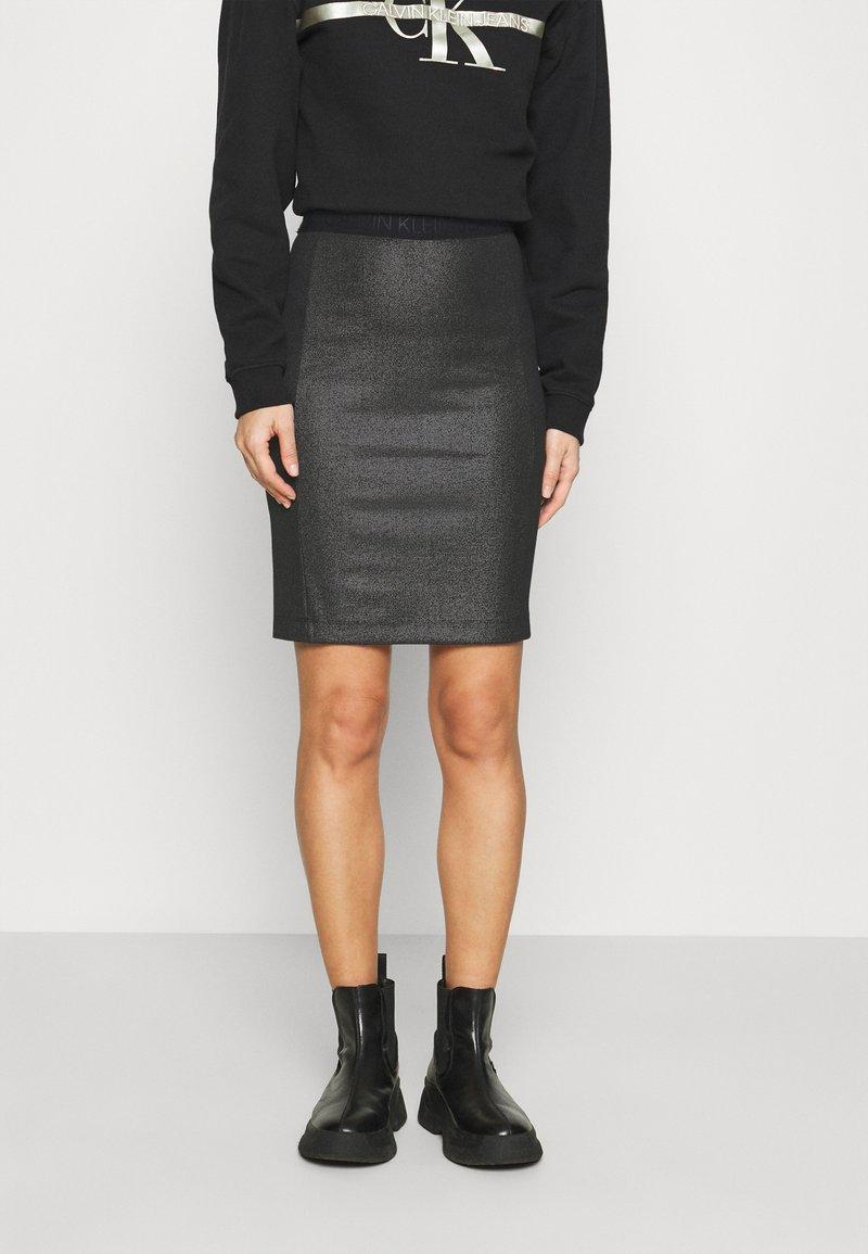 Calvin Klein Jeans - COATED MILANO SKIRT - Pencil skirt - black