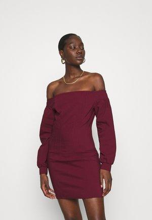 OFF THE SHOULDER MINI DRESS - Day dress - burgundy