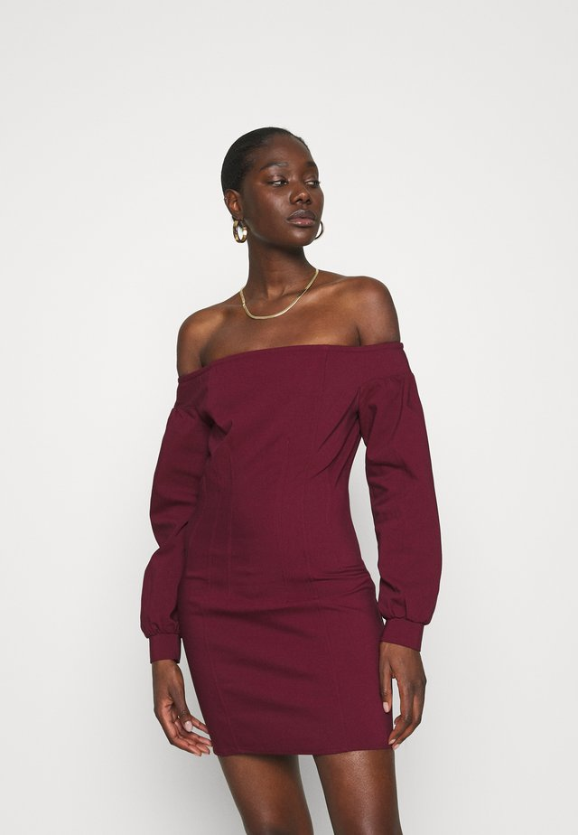 OFF THE SHOULDER MINI DRESS - Day dress - burgundy