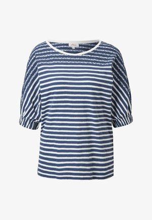 Long sleeved top - faded blue stripes