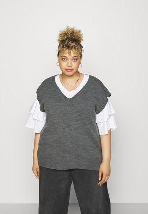 V NECK SLEEVELESS - Basic T-shirt - grey marl