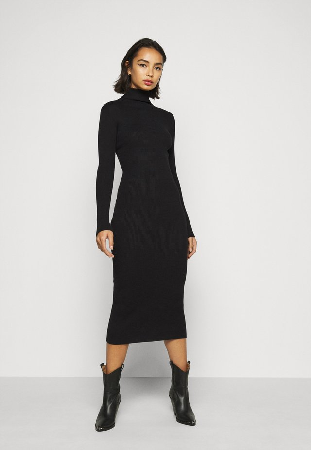 ROLL NECK  MIDI DRESS - Etuikjole - black
