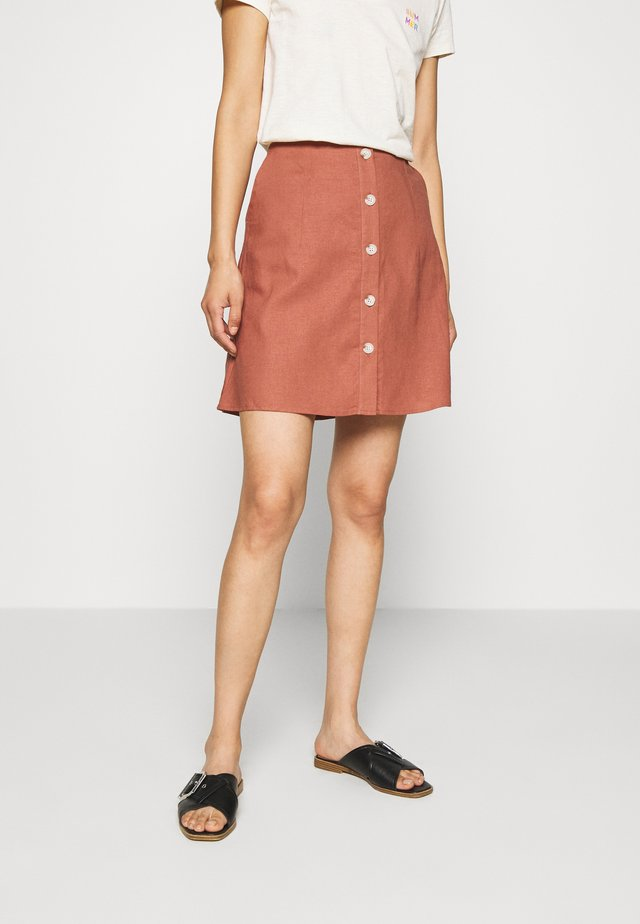 LINEN SKIRT WITH BUTTONS - Minijupe - tuscany