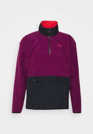 QUARTER ZIP POLAR UNISEX - Flisinis džemperis - black/dahlia mauve/flame scarlet