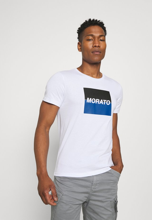 SLIM FIT WITH LOGO  - Camiseta estampada - bianco
