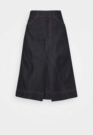 PLEAT DETAIL SKIRT - Spódnica trapezowa - raw indigo