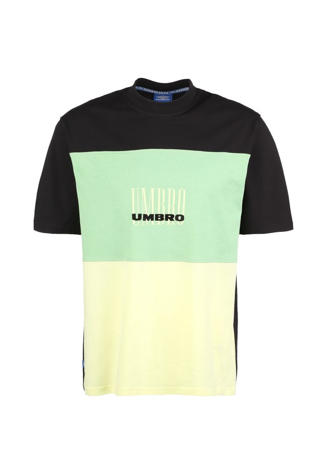 T-shirt print - black / soft yellow / aqua mint