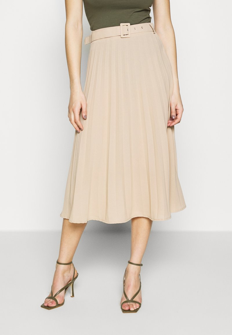 Missguided Tall - BELTED PLEATED MIDI SKIRT - A-Linien-Rock - cuban sand