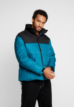 BLOCK FUNNEL PUFFER - Winter jacket - teal/black
