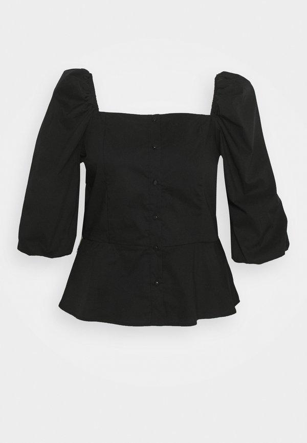 Glamorous Curve PUFF SLEEVE PEPLUM - Bluzka - black solid/czarny GCEI
