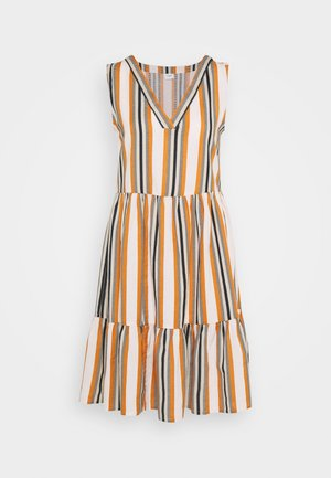 JDYSTRIPY LIFE DRESS AT KNEE - Kjole - cloud dancer/brown/black