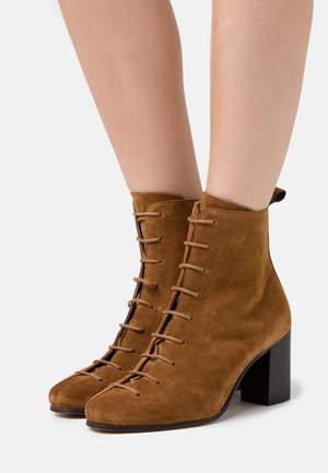 VICKIE - Lace-up ankle boots - cognac