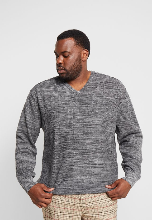 V-NECK TWISTSTRUCTUR - Jumper - anthracite melange