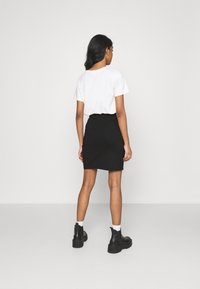Even&Odd - Asymetric overlap wrap mini high waisted skirt - Pencil skirt - black - 2