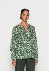 Marc O'Polo - BLOUSE LONG SLEEVE SLIT IN - Blouse - green/white - 0