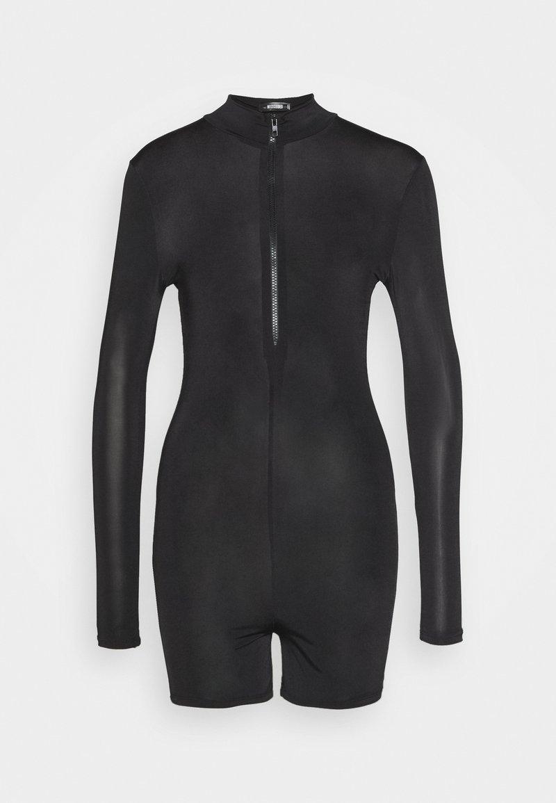 Missguided - LONG SLEEVE ZIP FRONT UNITARD - Jumpsuit - black