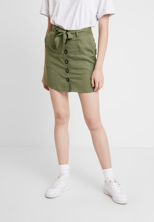 BUTTON THROUGH TWILL SKIRT - Jupe trapèze - khaki
