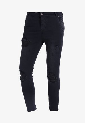 DISTRESSED - Jean slim - washed black