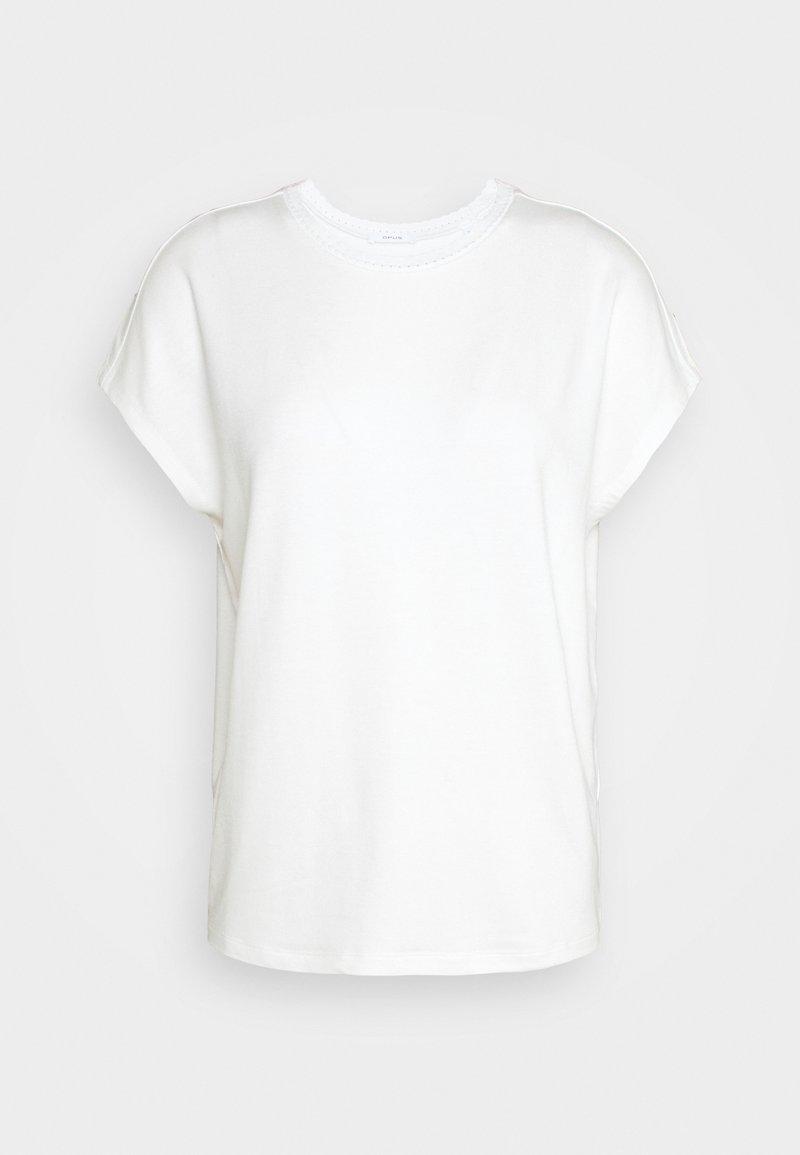Opus - SUDELLA CROCHET - Print T-shirt - milk