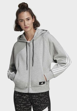 ADIDAS SPORTSWEAR WRAPPED 3-STRIPES FULL-ZIP HOODIE - veste en sweat zippée - grey