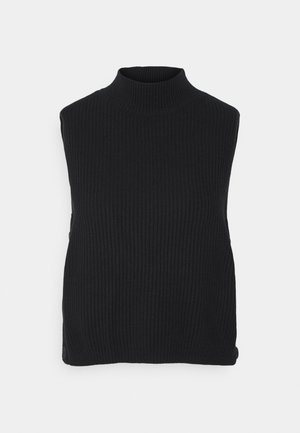 ROLL NECK AND SIDE BOTTONS - Top - black