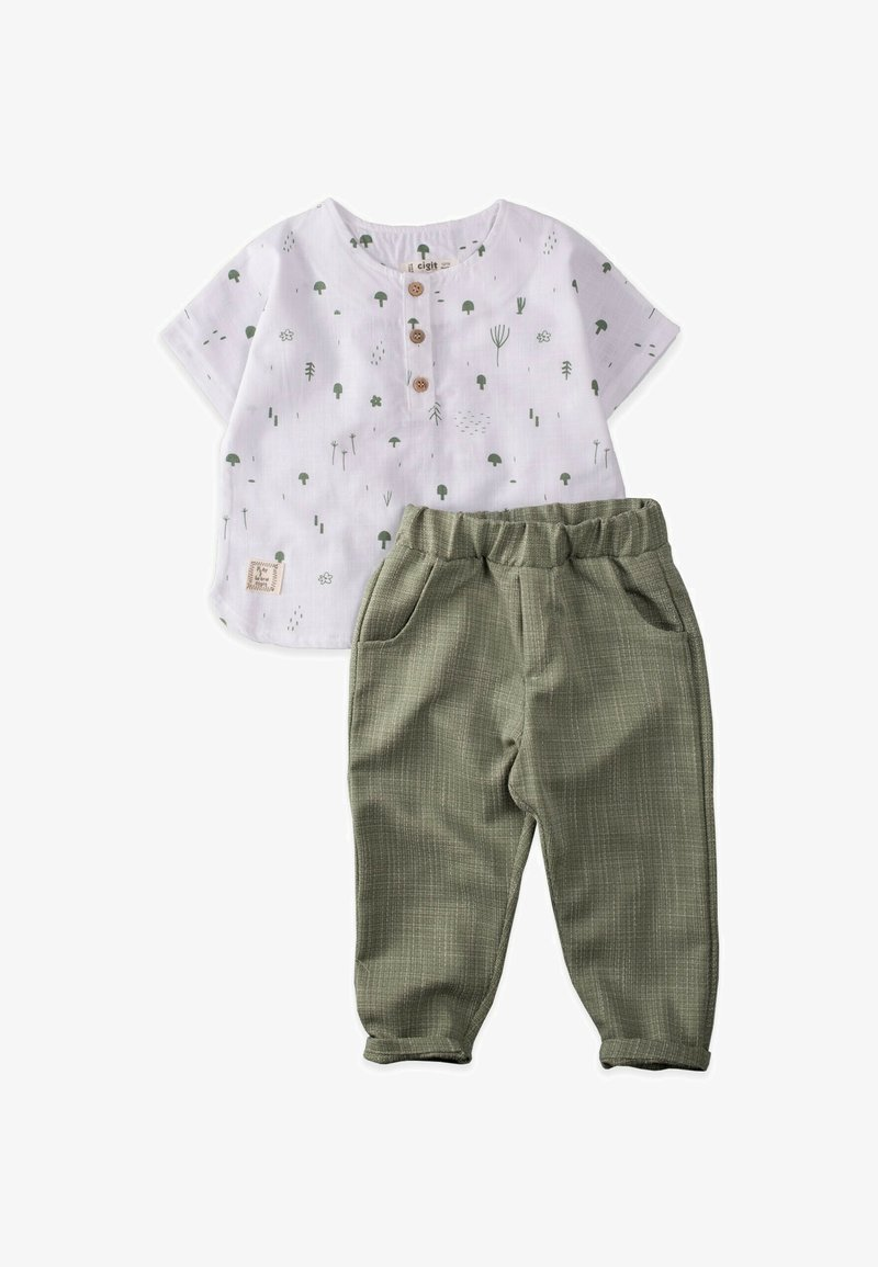 Cigit - Trousers - off-white/green