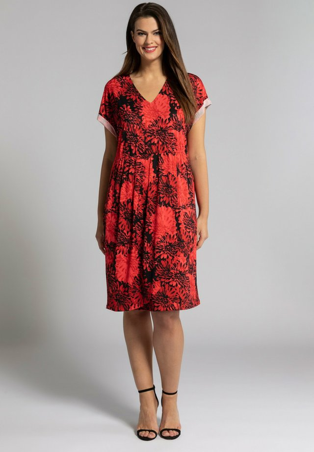 Korte jurk - rouge corail