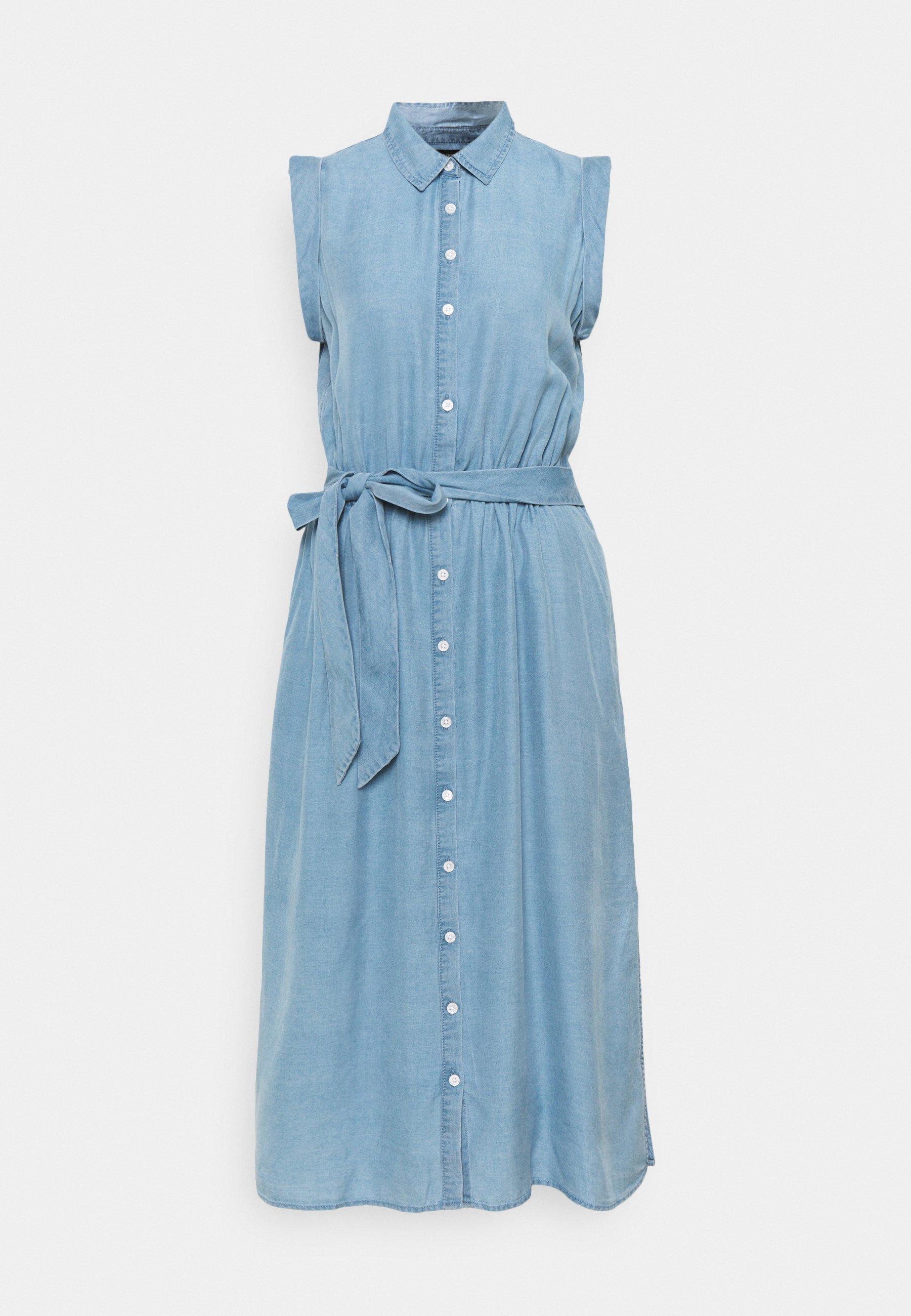 Women TIE WAIST MIDI SHIRTDRESS - Denim dress