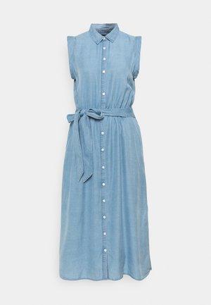 TIE WAIST MIDI SHIRTDRESS - Denim dress - chambray