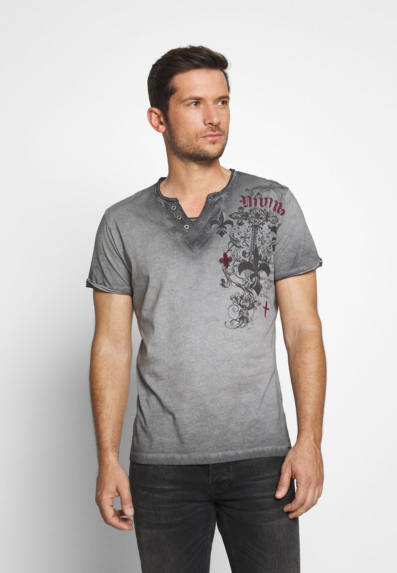 Key Largo - KNIGHT BUTTON - T-shirt con stampa - silver
