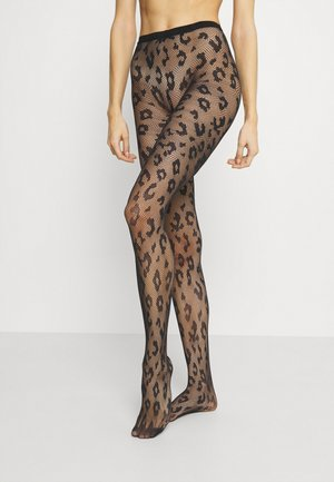 FISHNET LEOPARD STYLE - Tights - black