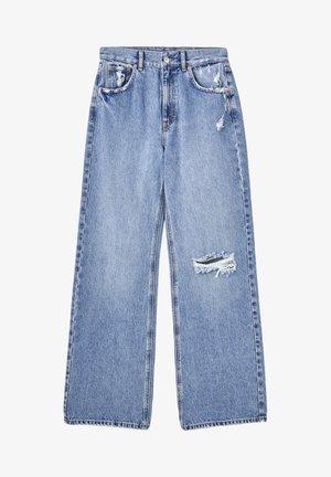 MIT HOHEM BUND - Flared Jeans - blue-grey
