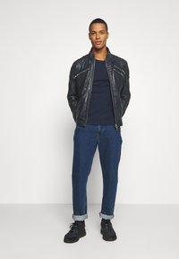 Carlo Colucci - BIKER JACKET - Leather jacket - anthra - 1