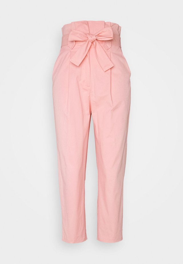 TIE WAIST PEG TROUSER - Stoffhose - pink