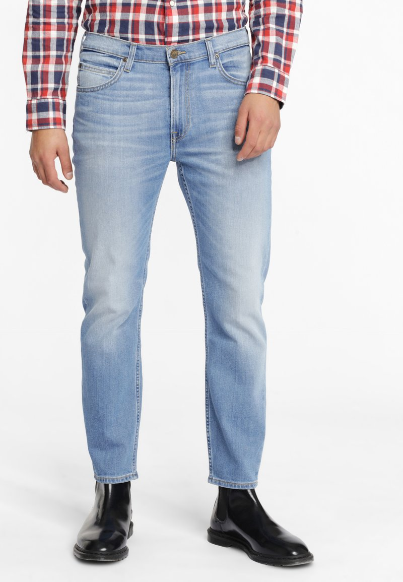 Lee - RIDER CROPPED - Jeansy Slim Fit - mottled light blue