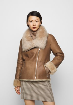 PHILIPPA JACKET - Leather jacket - camel/light camel