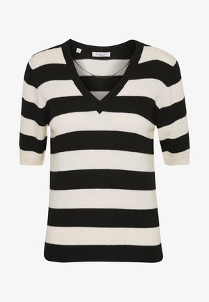 SLFPEYTON V NECK - T-shirt imprimé - black/birch