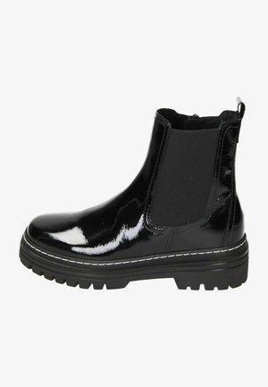 Cowboy/biker ankle boot - schwarz lack