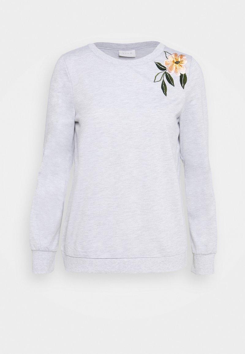 Vila - VILUKI SHOULDER EMBROIDERY - Sweatshirt - light grey melange/pink/green