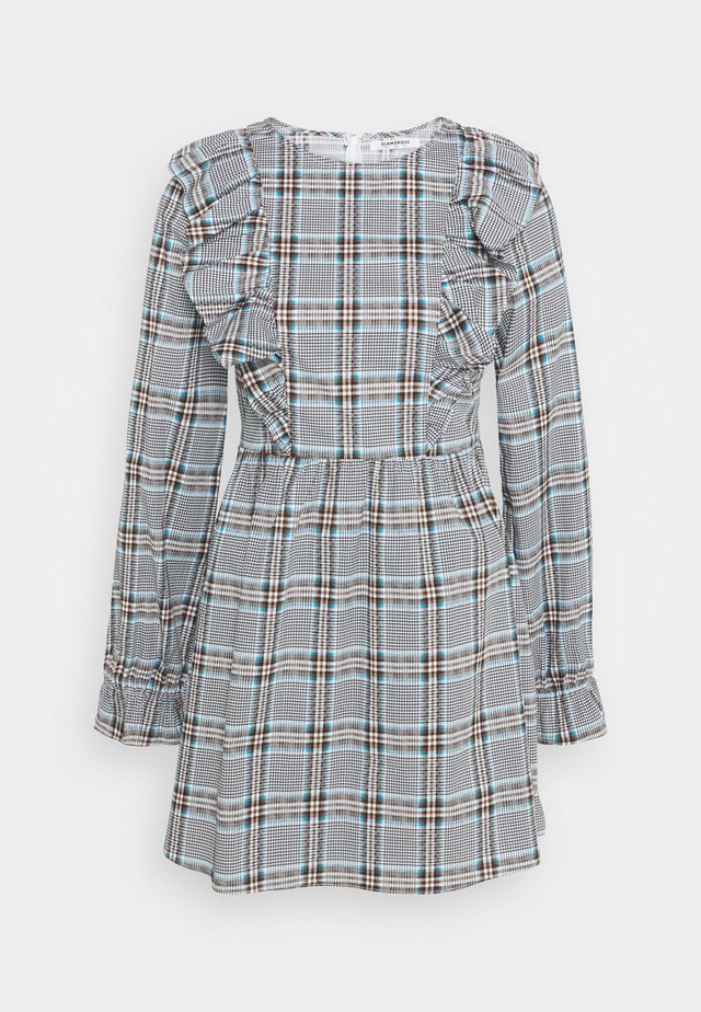 LONG SLEEVE SMOCK DRESS WITH RUFFLE DETAIL - Kjole - blue/brown