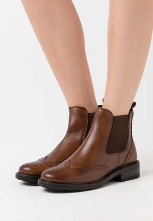 LEATHER - Botines - cognac