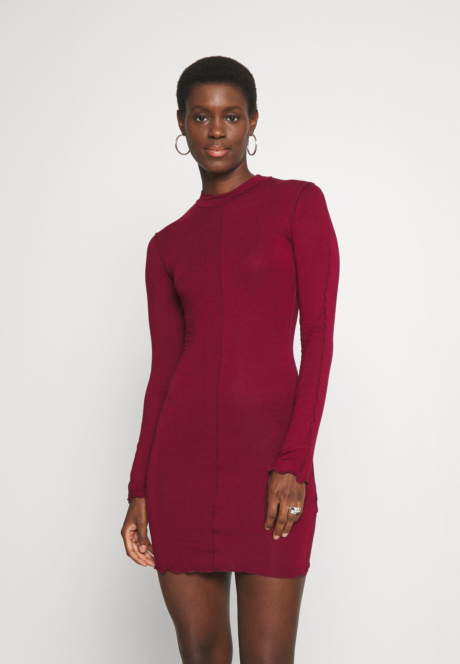 Damen EXPOSED SEAM HIGH NECK LONG SLEEVE MINI - Jerseykleid