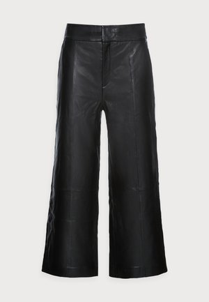 KARLEEN CULOTTE PANT - Leather trousers - black