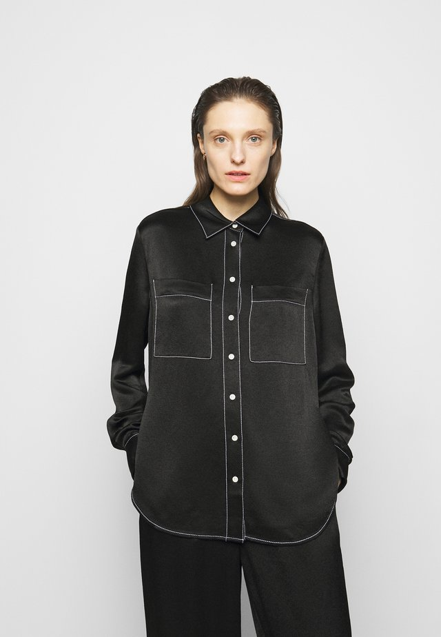 DOBBY DOUBLE POCKET - Blouse - black