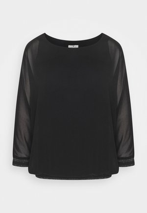 BLOUSE WITH FABRIC MIX - Long sleeved top - deep black