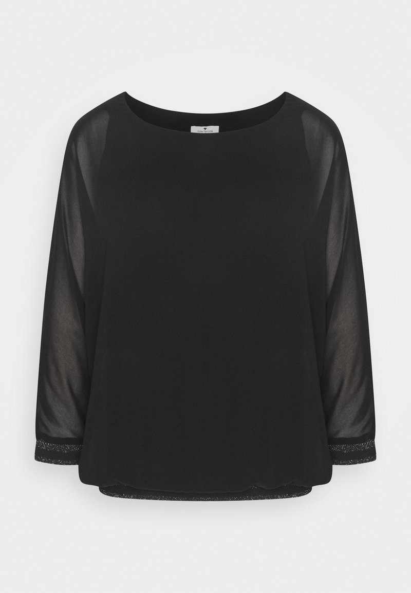 TOM TAILOR - BLOUSE WITH FABRIC MIX - Long sleeved top - deep black