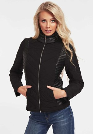 JACKE GESTEPPTES KONTRASTGEWEBE - Winter jacket - schwarz